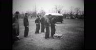 Group of military soldiers releasing a war pigeon Stock Footage