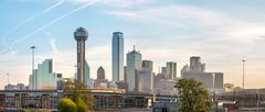panoramic overview of downtown dallas - stock photo