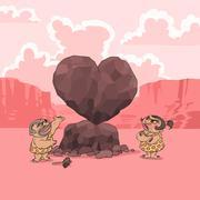Valentine's Day in Stone Age - stock illustration