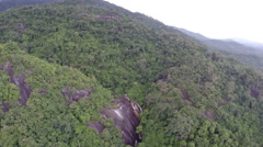 Top view on Nature waterfall in deep forest Stock Footage