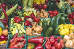 Stock Photo of wide variety of hot chilli peppers as among trendy vegetables and foods found