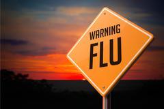 Flu on Warning Road Sign. Stock Illustration