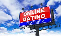 Stock Illustration of Online Dating  Inscription on Red Billboard.