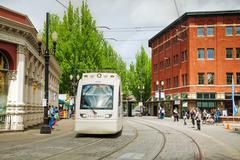 light train of the portland streetcar system - stock photo