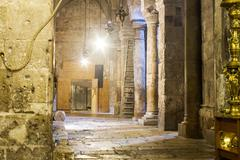 crowds at the church of the holy sepulchre - stock photo