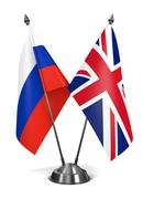 Russia and Great Britain - Miniature Flags. - stock illustration