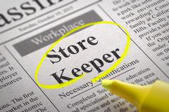 Store Keeper Vacancy in Newspaper. - stock illustration