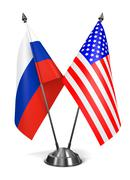 Russia and USA - Miniature Flags. Stock Illustration