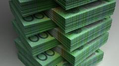 Stack of Australian Dollar Stock Footage