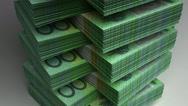 Stock Video Footage of Stack of Australian Dollar