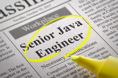 Senior Java Engineer Vacancy in Newspaper. - stock illustration