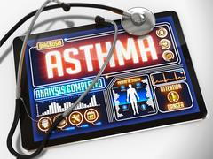 Asthma on the Display of Medical Tablet. Piirros