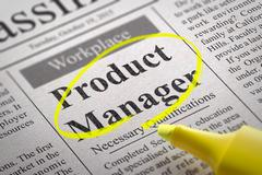 Product Manager Vacancy in Newspaper. Stock Illustration