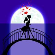 Lovers at bridge in moonlight Stock Illustration