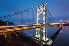 George Washington Bridge fully illuminated - stock photo