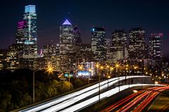 Philadelphia skyline by night Stock Photos
