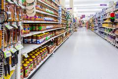 Condiments and spices aisle in an American supermarket Stock Photos