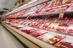 Meat aisle in an American supermarket Stock Photos