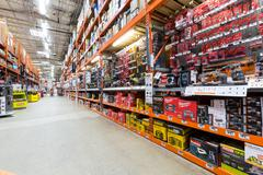 Power tools aisle in a Home Depot - stock photo
