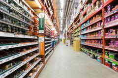 Aisle in a home depot hardware - stock photo