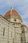 duomo basilica cathedral church from giotto's bell tower florence italy - stock photo