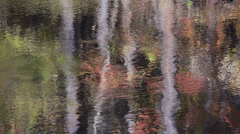 Fall colors reflect in glassy water Stock Footage