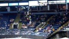 Kawasaki FMX rider backflips, 2 scenes. Stock Footage
