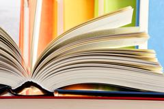 Stock Photo of composition with hardcover books in the library