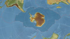 Antarctic tectonic plate extruded on disc. elevation & bathymetry, shader. 4k Stock Footage