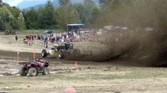 Mud drag race car blasts mud. Stock Footage