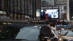 Madison Square Garden Traffic. MSG at night. Rangers Hockey. Knicks Basketball. Stock Footage
