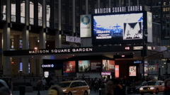 Madison Square Garden at Night. MSG at night. Rangers Hockey Stock Footage