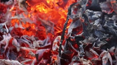Closeup of the Red, Orange, Black Glow of Leaves Burning Stock Footage