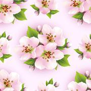 beautiful seamless pattern with sakura blossom - stock illustration
