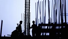 Time lapse - construction, workers, blue silhouette Stock Footage
