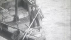 Vintage Film 1956 Hong Kong  Boy Working Hard On Chinese Junk Boat Child Labor Stock Footage