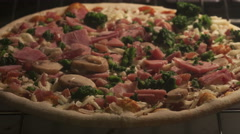 4K Time lapse pizza with ham and mushrooms Stock Footage