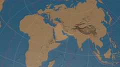 Arabian tectonic plate extruded on disc. elevation & bathymetry, solids. 4k Stock Footage