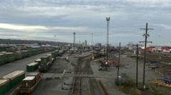 Train In Rail Yard Stock Footage