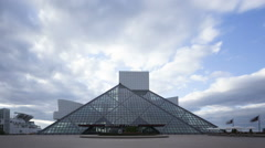 Time lapse zoom out Cleveland Rock & Roll Hall of Fame Stock Footage