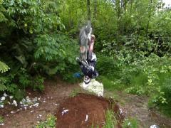 Pitbike backflip fail Stock Footage