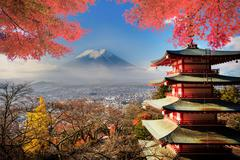 Mt. Fuji with fall colors in Japan. Stock Photos