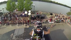 FMX rider energizes crowd Stock Footage