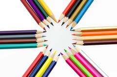 Colour pencils isolated on white background close up Stock Photos
