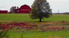 Red barn autumn farm windmill 1 Stock Footage