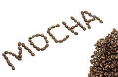 mocha coffee beans - stock photo