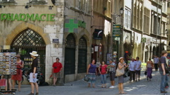 Tourists in Place du Change - Lyon France Stock Footage