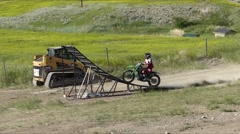 FMX Jump with corner berm Stock Footage