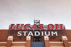 Lucas oil stadium sign in indianapolis Stock Photos