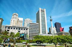 union square in san francisco on a sunny day - stock photo